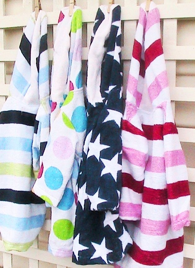 EJ Kids Bamboo Towelling Swim Robes, sizes Newborn to 10yrs. With hood, full sleeves, kangaroo pocket and fully opening front zip.