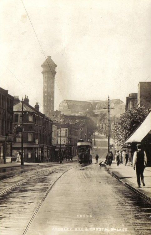 Anerley Road with the Crystal Palace, South London, ca. 1910.