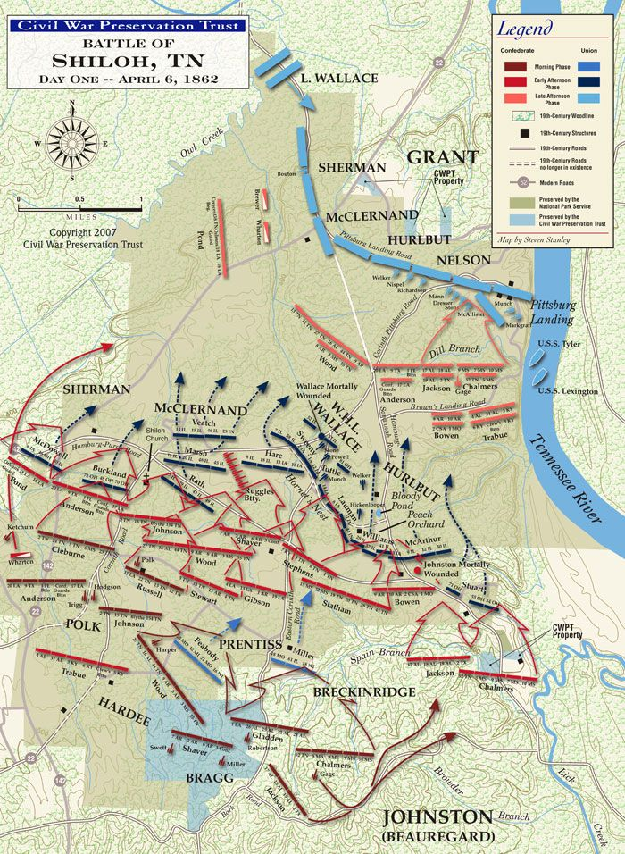 Civil War Battle of Shiloh First Day Map