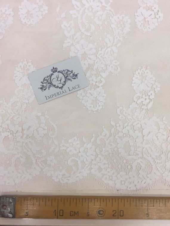 Ivory lace fabric Ivory flowers lace Chantilly Lace Wedding