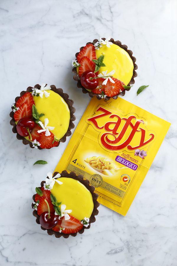 Crostatine al cacao con crema allo zafferano - di Maddalena Laschi #fuudly #ricette #cucinaconzaffy