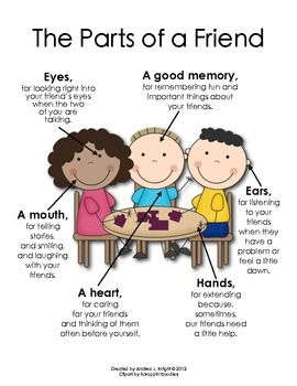 Poster: The Parts of a Friend (Great for Back-to-School planning when designing lessons on what it means and looks like to be a good friend. Created by Andrea Knight.) $