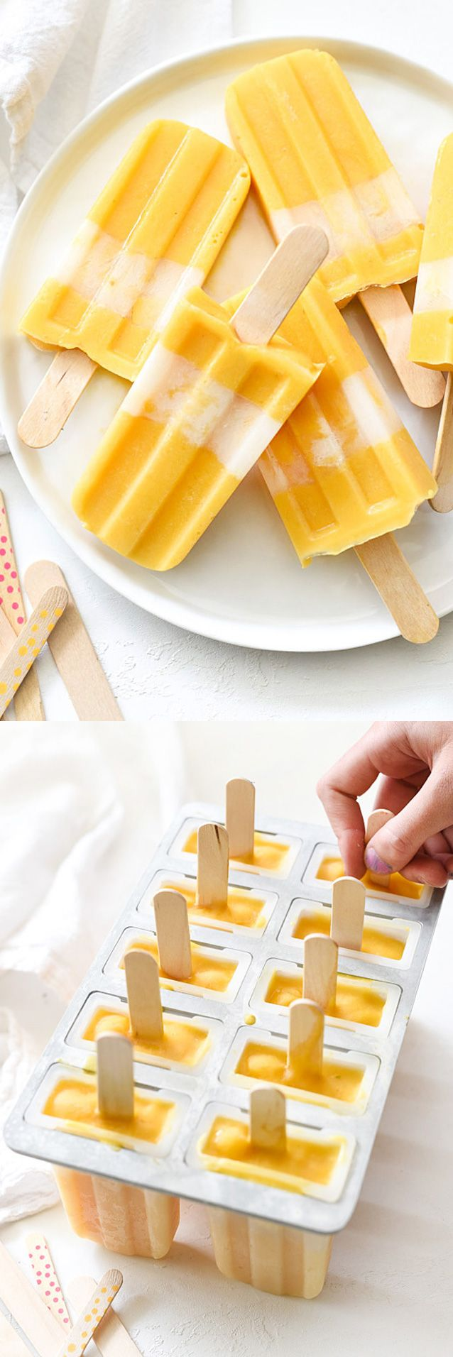 Almond milk and vanilla Greek yogurt make these mango pops ultimately creamy | foodiecrush.com