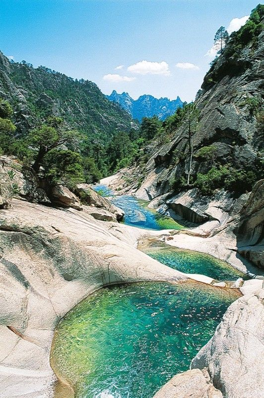 Restonica Valley in Corsica France. Oddly this reminds me of Yosemite National park