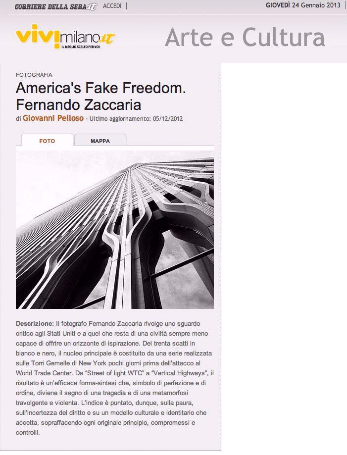 un articolo di Giovanni Pelloso, pubblicato su Vivimilano, dedicato alla mostra di Fernando Zaccaria in galleria.