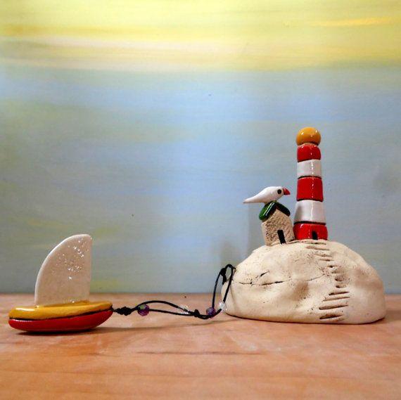 Ceramic lighthouse Christmas gift for him  Hanukkah by ednapio