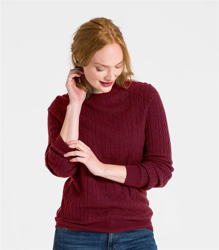 Pepper Womens Cashmere and Merino Cable Crew Neck Jumper
