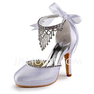 Wedding Shoes - $69.99 - Women's Satin Cone Heel Closed Toe Platform Pumps With Beading Rhinestone (047005114) http://jjshouse.com/Women-S-Satin-Cone-Heel-Closed-Toe-Platform-Pumps-With-Beading-Rhinestone-047005114-g5114
