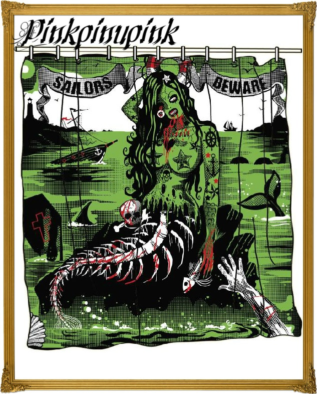 Tattoo Sailors Beware Shower Curtain Mermaid Pinup Zombie Punk Too