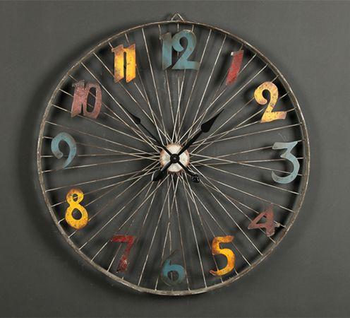 Ретро настенные часы в стиле лофт в виде колеса велосипеда Retro Art Bicycler