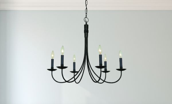 $340 Dining room James & James Modern Farmhouse Wrought Iron 6 Light Black Chandelier