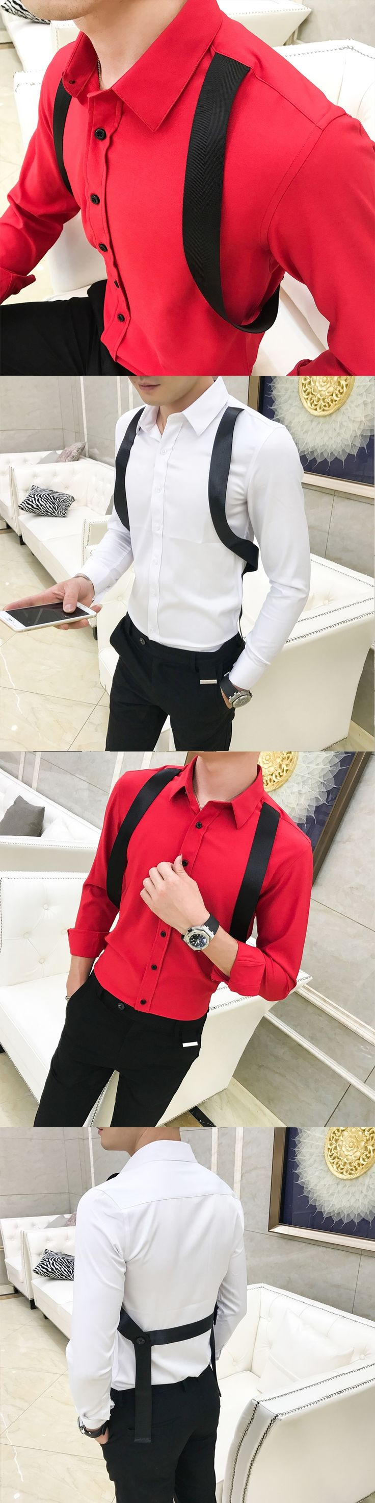 2018 British wind nightclub tide men Slim strap decoration long-sleeved shirt hairdresser red shirt men evening dress shirt