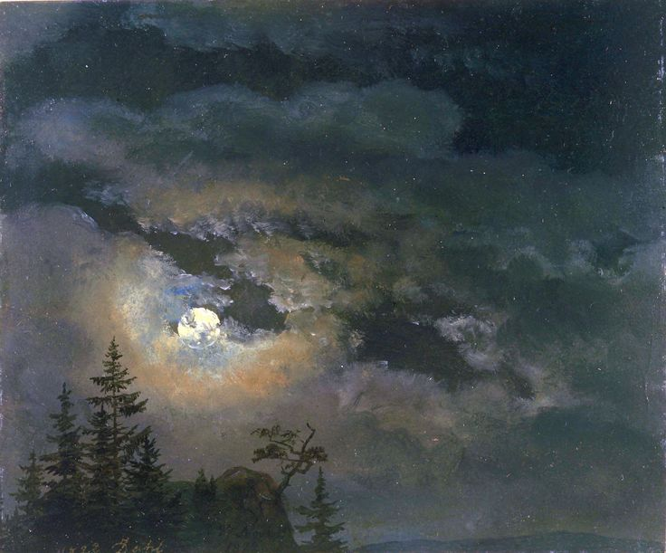 Johan Christian Dahl - A cloud and landscape study by moonlight (1822)