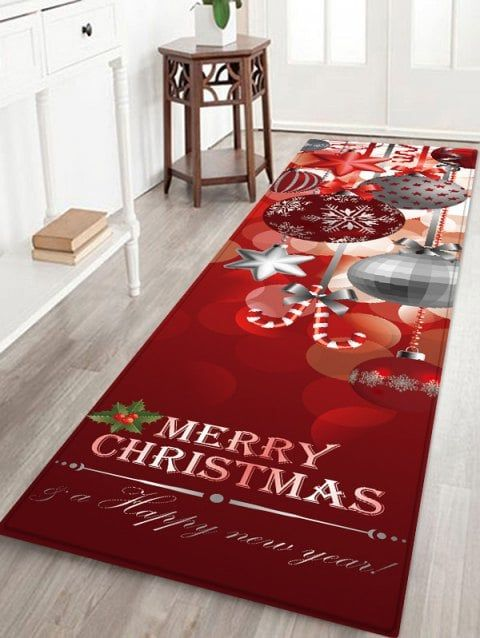 Christmas Hanging Balls Pattern Anti Skid Flannel Area Rug
