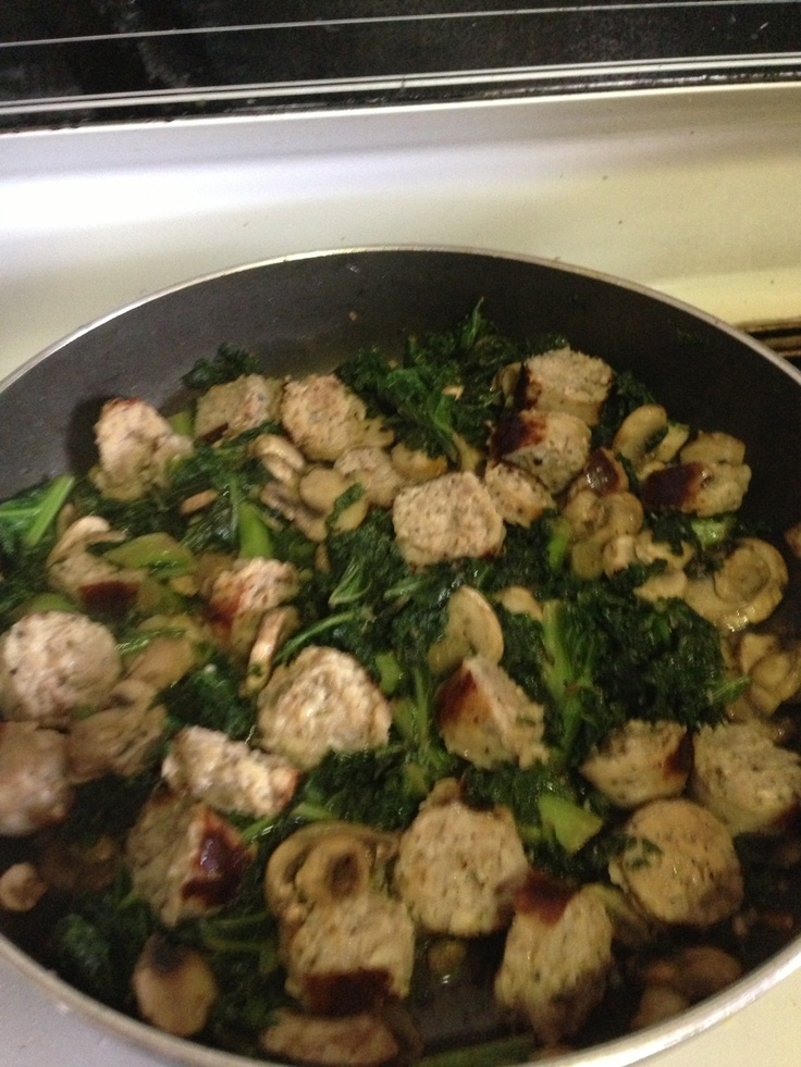 , mushroom and chicken parmesan sausage. I'm putting over brown rice ...