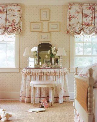 beautiful dressing table skirt would work just as well as a bathroom sink skirt--pretty balloon shades too