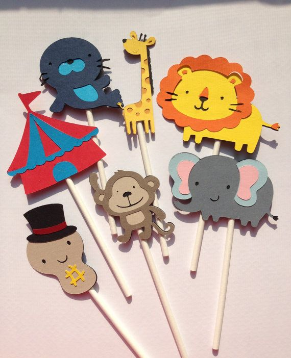 Circus Themed- Baby shower PACKAGE,Circus Birthday Banner,Circus Favor Toppers, Circus Cupcake Topper, Big Top Party. $87.00, via Etsy.