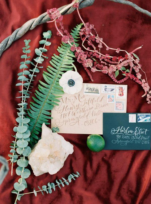 Bohemian Intimate Wedding Inspiration Calligraphy invitation