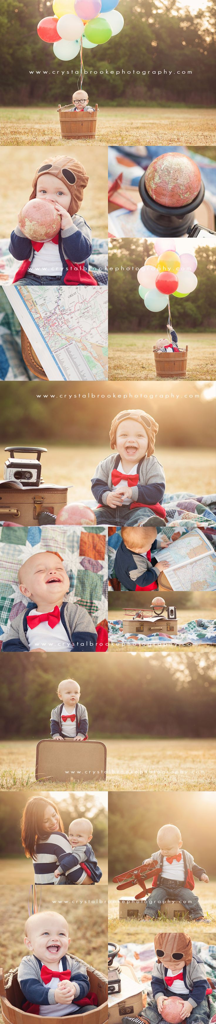 Disney Pixar's UP movie themed theme photo session adventure vintage suitcase airplane travel map globe golden sunset sunrise lighthing natural cypress magnolia tomball the woodlands conroe montgomery magnolia texas happy cute 1 year old boy