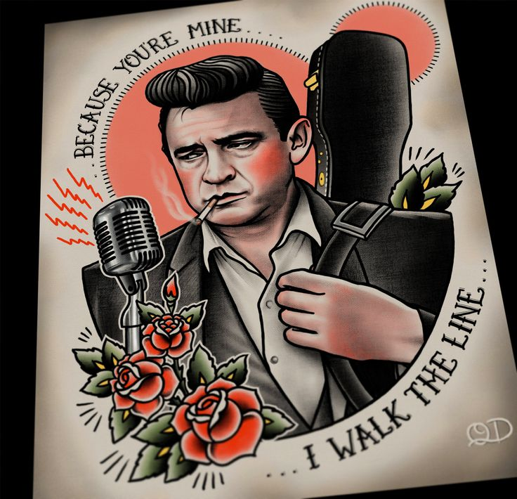 Johnny Cash Tattoo Flash Art Print by ParlorTattooPrints on Etsy
