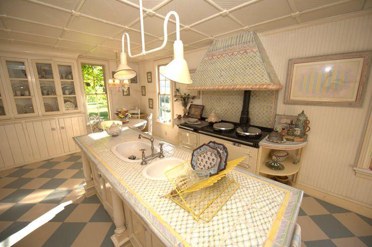Wonderful stove hood tile work and floors mackenzie for Mackenzie childs kitchen ideas