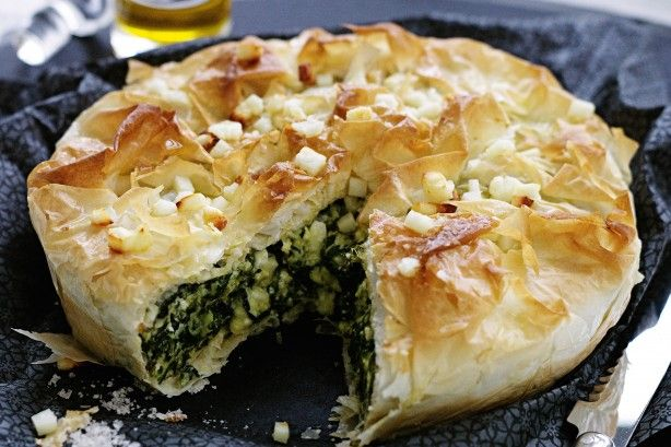 Macedonian pie of greens and cheese main image - Greek recipes from the northern region of Macedonia  - Greek cuisine from the Historical region of Macedonia of ancient and modern Greece