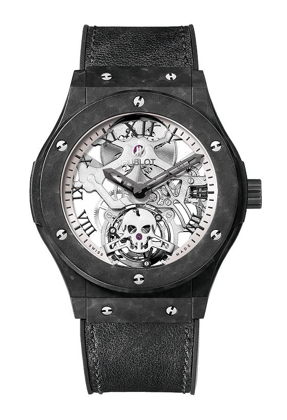 Hublot Classic Fusion Tourbillon Skull has a case made of ultra-light, ultra-hard ceramized aluminum and its skeletonized movement — with bridges sculpted to look like actual bones and a tourbillon barret in the shape of a skull.