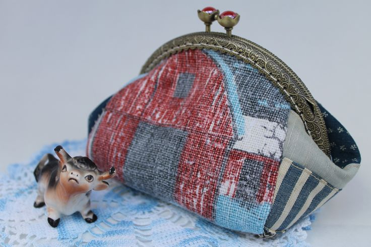 Coin Purse Fresh from the Farm - Barns in Red White and Blue