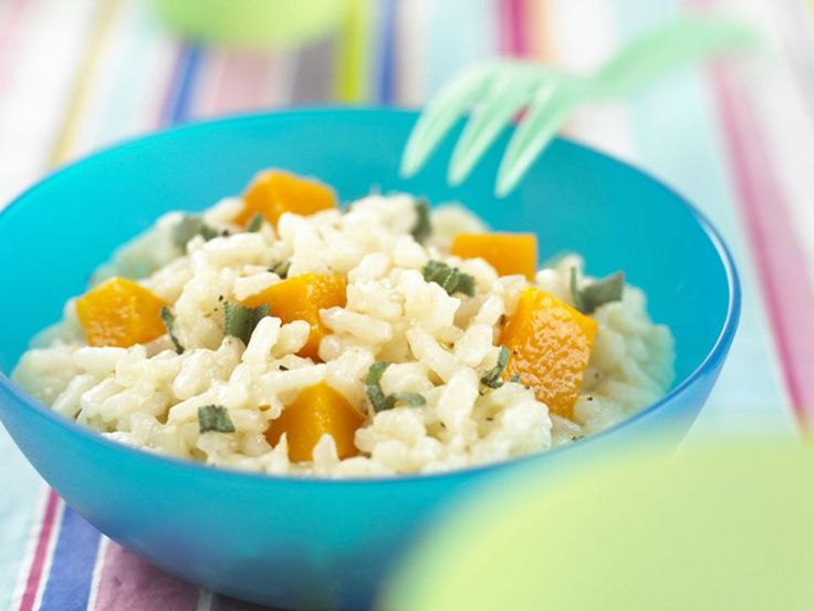 Serving cooked rice with vegetables is an ideal way to introduce texture to your baby's food. Butternut squash is now more readily available in supermarkets, although you could substitute it with pumpkin instead.