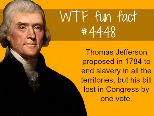 Thomas Jefferson proposed to end slavery -   WTF fun facts | Could've saved millions of American lives that were lost in the Civil War. Some argue slavery wasn't the reason for the Civil, that it was over state's rights, but the primary reason the south were arguing  state's rights was so they could continue slavery - so it was the root cause.