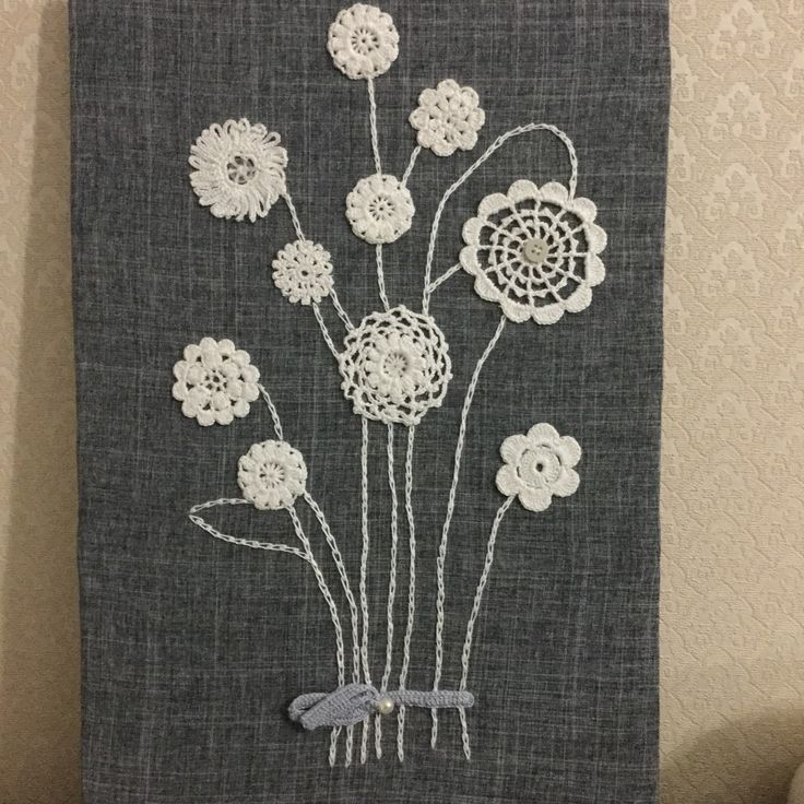 My one of the most favorite work - handmade picture with crochet flowers