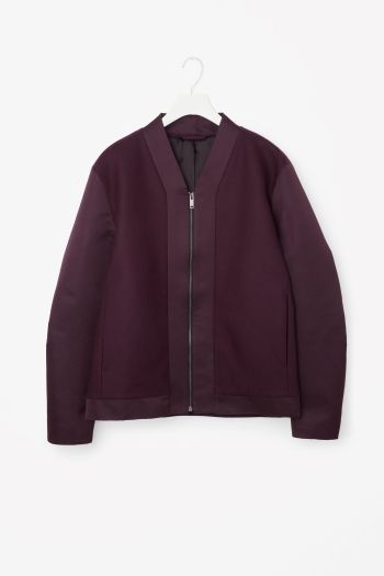COS image 2 of Clean-neck padded zip-up jacket in Burgundy