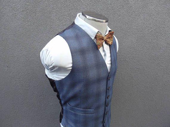 1970s Prince of Wales Waistcoat / Vintage Muted Glen Plaid Waistcoat 40 Medium / Wedding Groom / Mens Glen Plaid Vest / 70s Men's Suit Vest