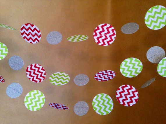 Red and Green Chevron with Silver Paper Garland Party Decor, Baby Shower, Photo Prop, Christmas and Holiday Decor, Classroom Decor, Etc on Etsy, $9.00