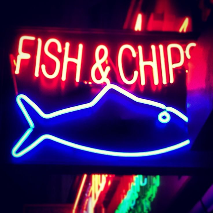 London, fish and chips, neon sign, neon, food, restaurant sign, UK sign