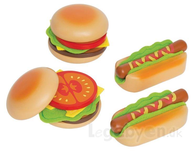 Køb Legemad - Fastfood i træ & filt fra Hape - 18 dele. online - Hape