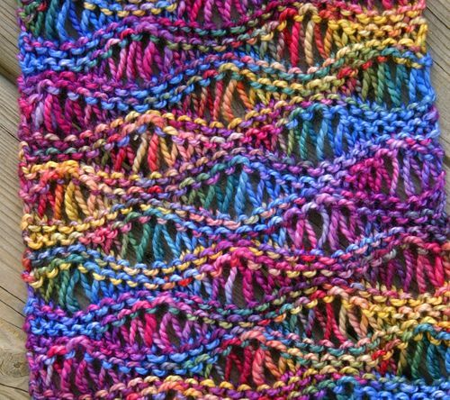 Drop Stitch Scarf Knit Pattern : knit, but could be crocheted in the wave pattern with the same or similar yar...
