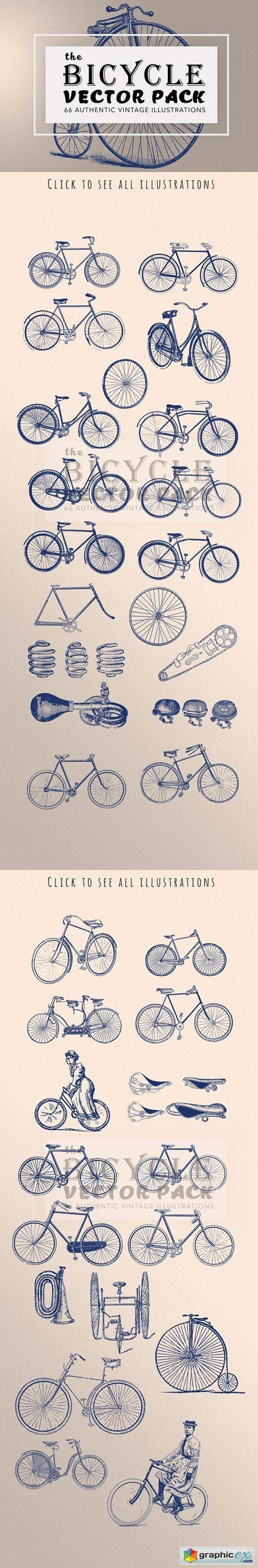 Vintage Bicycle Illustration Bundle  stock images