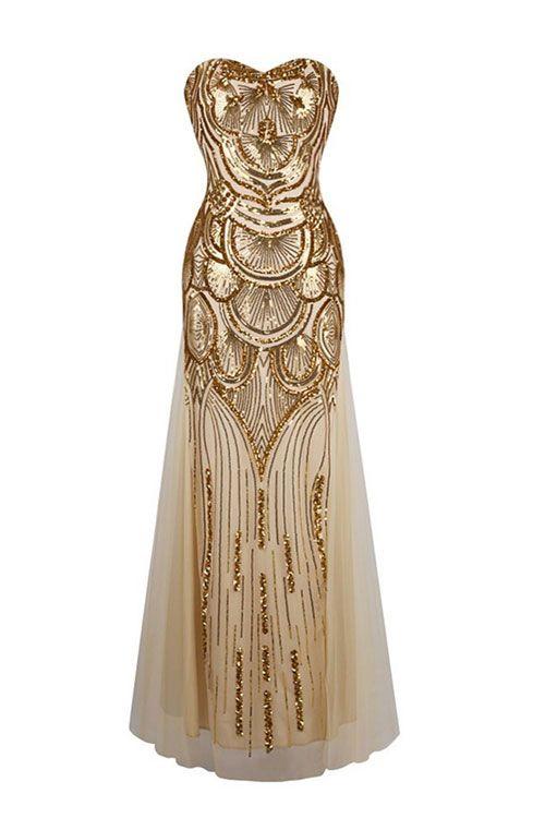 Unique gold sequin mermaid long prom dress, evening dress, gold formal dress
