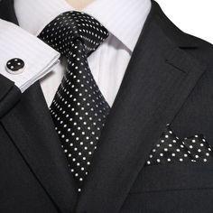 Black and White Silk Necktie Set JPM18A74