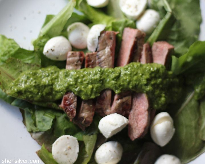 flank steak with chimichurri dressing via the amazing @Sheri Silver