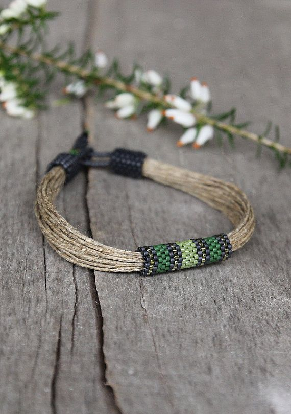 Be not only fashionable but also unique with this designer mens bracelet made of organic linen string and Japanese seed beads. I play with colors till the effect satisfy me so I hope you will find in my shop something you like.