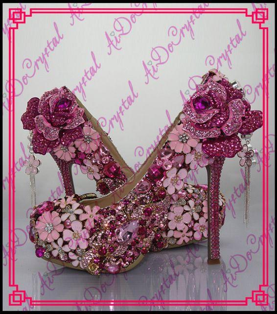 Aidocrystal marca de Lujo personalizado rhinestone de la flor zapatos rosados de la boda las mujeres de tacón alto y bolso a juego