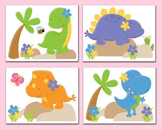 DINOSAUR NURSERY DECOR Wall Art Prints Baby Girl T-Rex