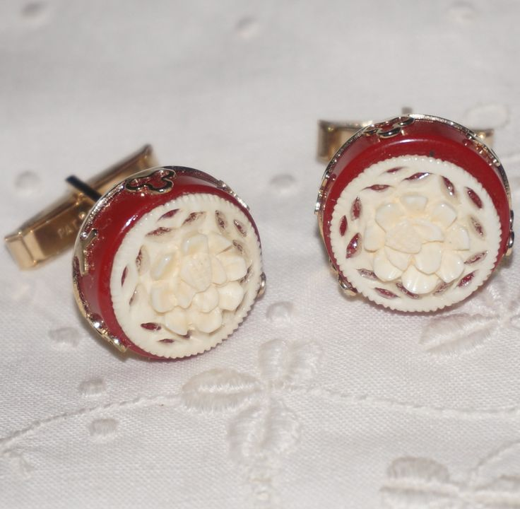 Ladies Vintage Gold Plated Carved Rose & Bakelite Cufflinks Cuff Links by NotSewIdle on Etsy