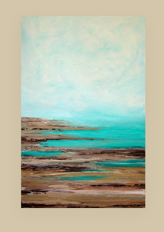 "Ocean Seascape Acrylic Abstract Painting Titled: Letting Go 30x48x1.5"" by Ora…"