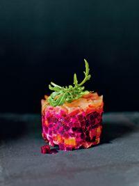 Salmon and beetroot wasabi stacks