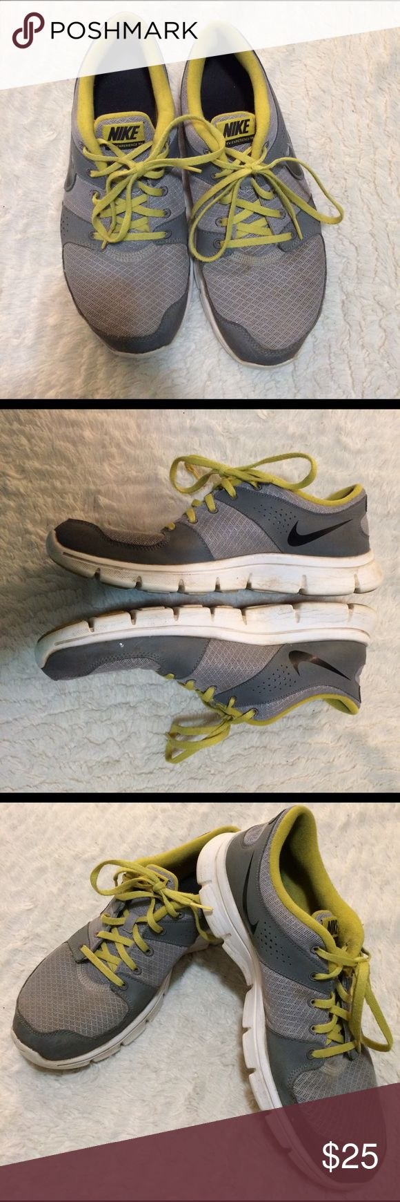 Men's Nike flex experience running shoes size 10 Men's Nike athletic shoes. Size 10. Still have a lot of life left. They are gray and white with bright yellow detail. Please see photos for extra details. Sold as is. Nike Shoes Sneakers