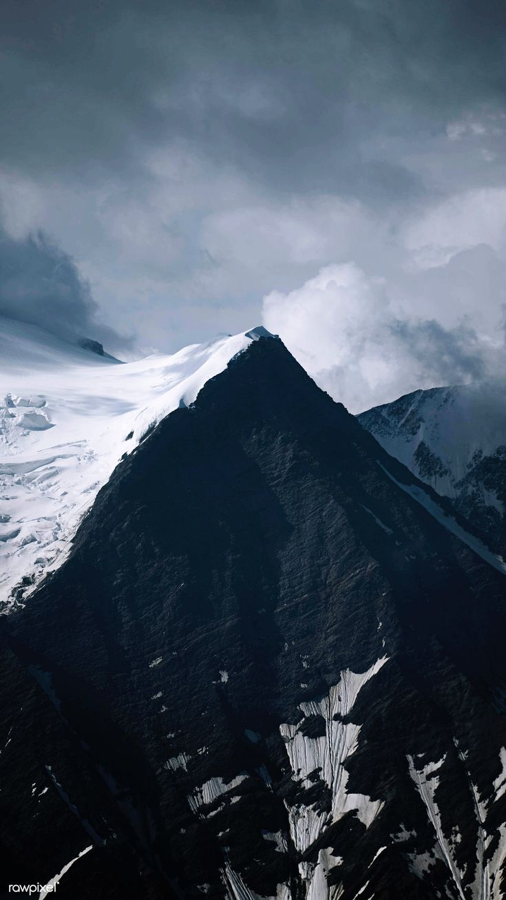 Snow covered Mont Blanc massif mobile phone wallpaper | free image by rawpixel.c…