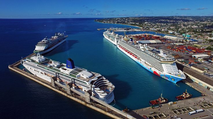 Cruise ships docked in the Barbados harbour.